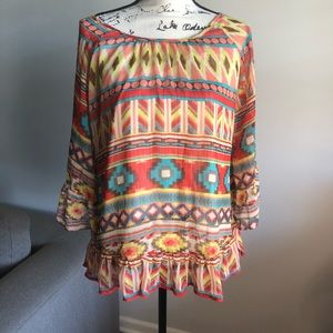 R Cinco Ranch Colorful Blouse Size Small